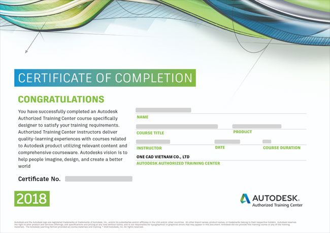 Chứng chỉ Autodesk Completion